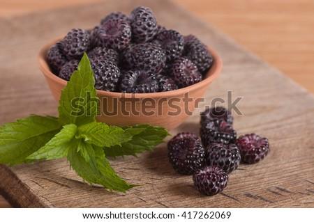 Blackberry in clay bowl - stock photo