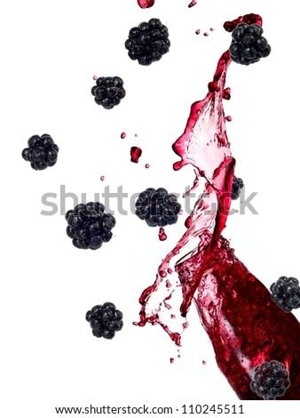 Blackberry juice splash - stock photo