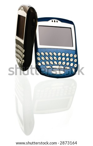blackberry pdas on white ground with reflection- can't be organized enough - stock photo