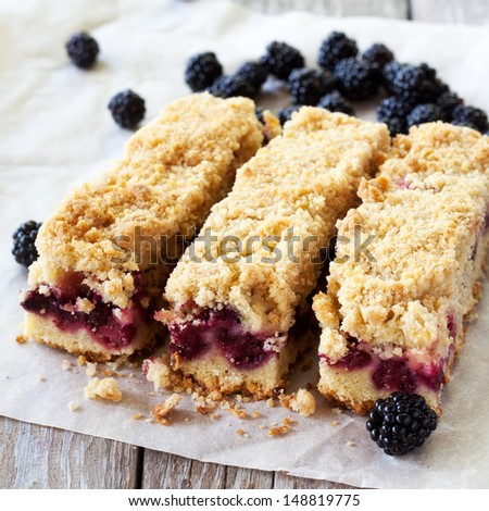 Blackberry pie bars - stock photo