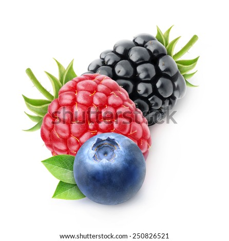 Blackberry, raspberry and blueberry over white background, with clipping path, vertical composition - stock photo