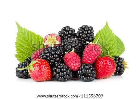 Blackberry, raspberry and strawberry. Isolated on white background - stock photo