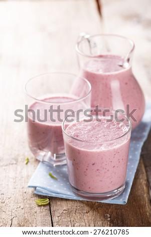 Blackberry smoothie - stock photo
