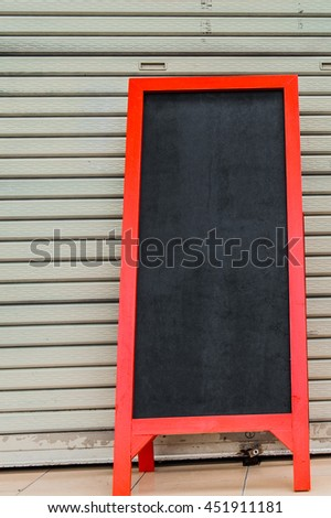 blackboard, Blank blackboard on Stainless steel door background