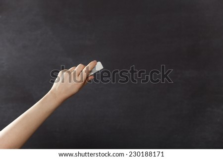 Blackboard / chalkboard. Left hand writing with copyspace for text - stock photo