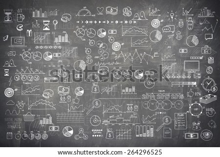 Blackboard chalkboard texture infographics collection hand drawn doodle sketch business ecomomic finance elements.