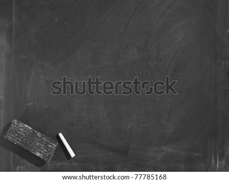 Blackboard / chalkboard texture. With eraser and chalk traces - stock photo