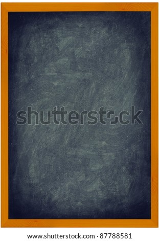 Blackboard / Chalkboard vintage texture background with frame of wood. Vertical closeup showing entire frame isolated on white background. Add text and use as sign. - stock photo
