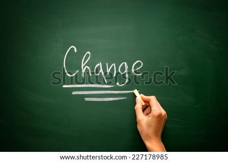Blackboard concept for the word Change - stock photo
