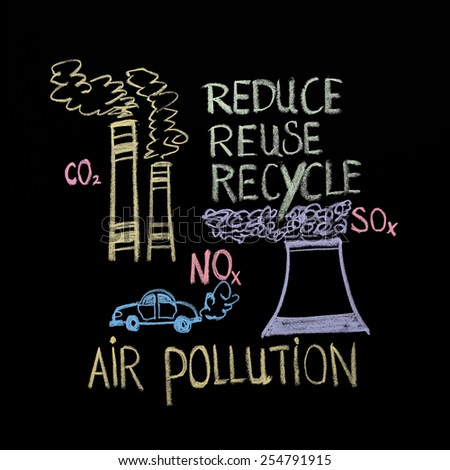 Blackboard drawing of air pollution - stock photo