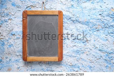 Blackboard for restaurant menu, free copy space - stock photo