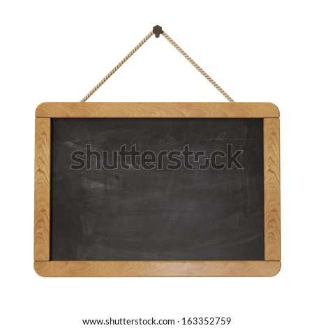 blackboard hanging in the wall, isolated on white background - stock photo