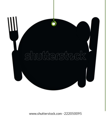 Blackboard label, setting of table fixed by a rivet and hung on by a green thread, isolated on white background - stock photo