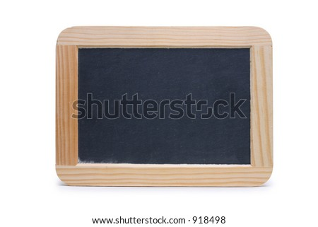 blackboard left blank for your message. Isolated on white with clipping path outline. - stock photo