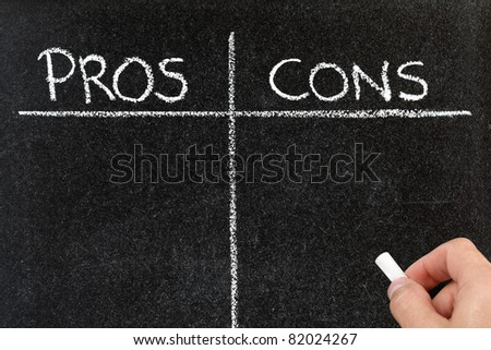 Blackboard list of pros and cons, for and against argument concept