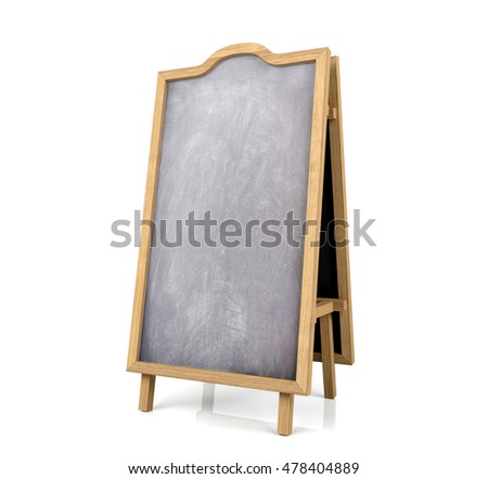Blackboard menu isolated on white background, 3D rendering