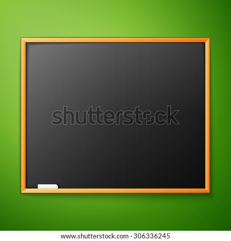 blackboard on the green wall,   - stock photo