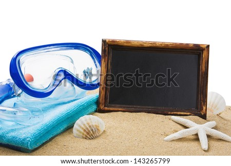 blackboard on the sand and other things for the beach isolated on white background - stock photo