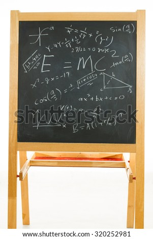 Blackboard or chalkboard with mathematics formulas in plain isolated white background. - stock photo