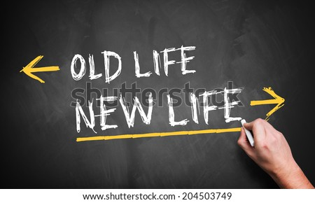 Blackboard showing directions to the old and new life - stock photo