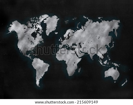 Blackboard sign in illustrative chalkboard style with map of the world - stock photo
