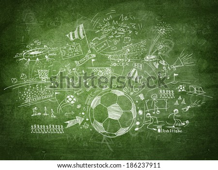 Blackboard soccer concept - stock photo