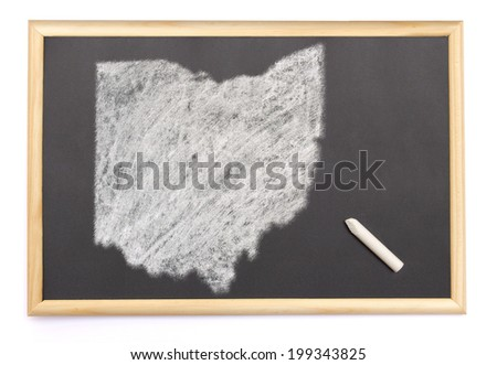 Blackboard with a chalk and the shape of Ohio drawn onto. (series) - stock photo