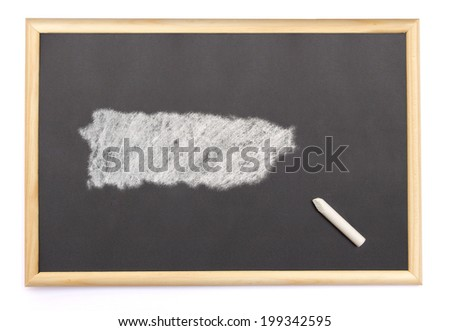 Blackboard with a chalk and the shape of Puerto Rico drawn onto. (series) - stock photo
