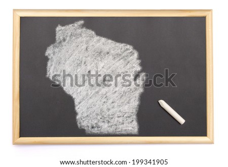 Blackboard with a chalk and the shape of Wisconsin drawn onto. (series) - stock photo