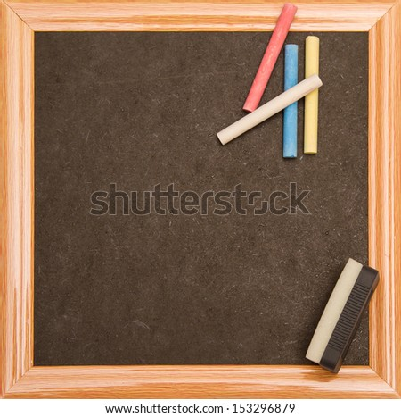 Blackboard with a wooden frame, isolated