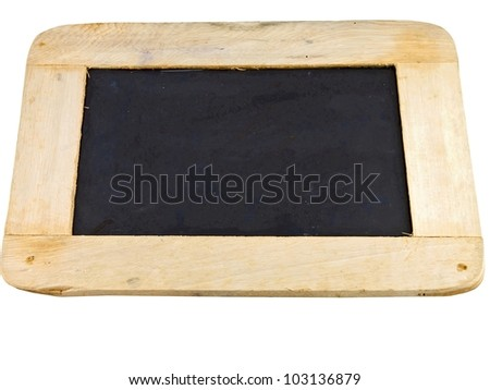 blackboard with a wooden frame isolated on white background. - stock photo