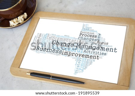 blackboard with change management word cloud - stock photo