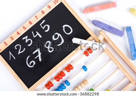 blackboard with ciphers on white background
