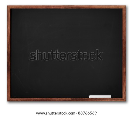 Blackboard with Copy Space to add your own text. Brown Frame and piece of chalk isolated on white with shadow.