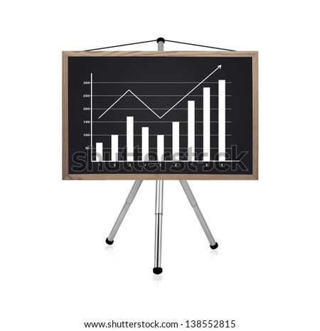 blackboard with drawing business chart - stock photo