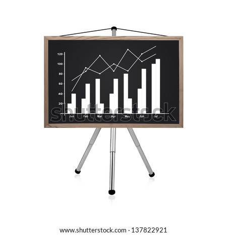 blackboard with drawing business charts - stock photo