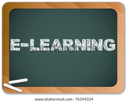 Blackboard with E-learning Message written with Chalk - stock photo