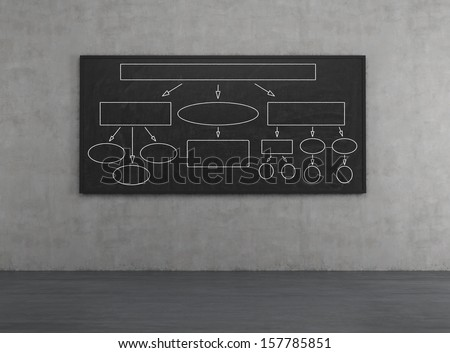 Blackboard with empty charts on a wall - stock photo