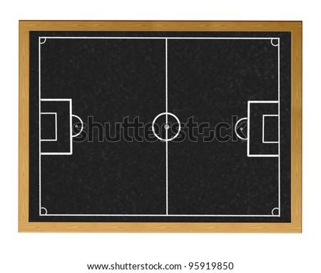 Blackboard with football field. - stock photo