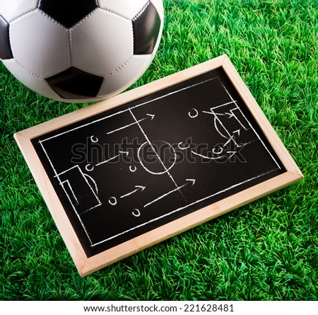 Blackboard with game tactics with soccer ball and green turf on background. - stock photo