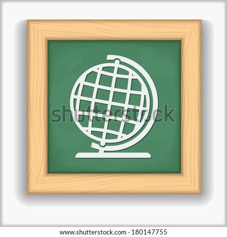 Blackboard with icon of a globe - stock photo