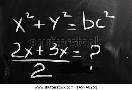 blackboard with math text - stock photo