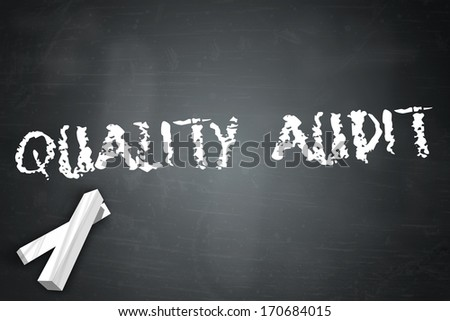Blackboard with Quality Audit wording - stock photo