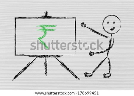 blackboard with rupee, indian currency symbol