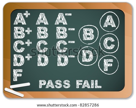 Blackboard with School Results Grades with Chalk - stock photo