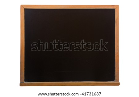 blackboard with sticky on white background - stock photo