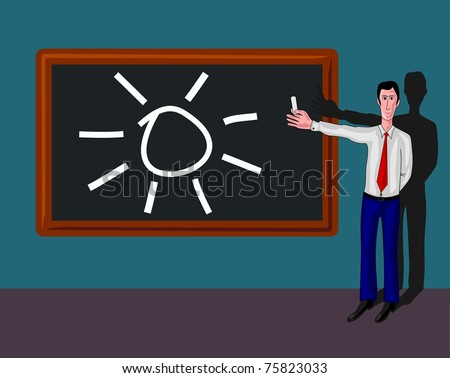 blackboard with sun