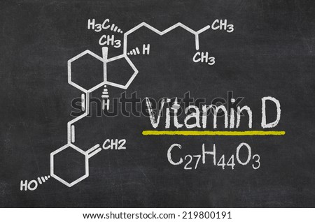 Blackboard with the chemical formula of Vitamin D - stock photo