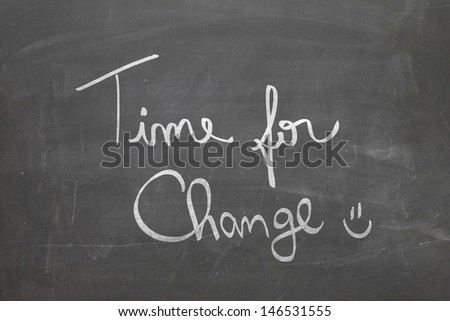 Blackboard with the text - Time For Change - stock photo
