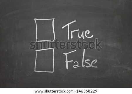 Blackboard with the text - True or False - stock photo